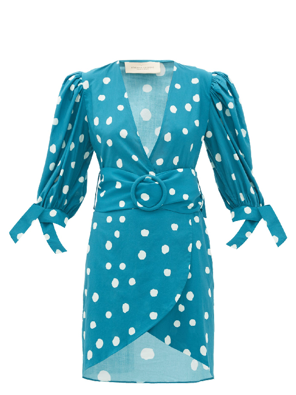 Adriana Degreas Polka-dot Belted Cotton Wrap Dress In Blue Print