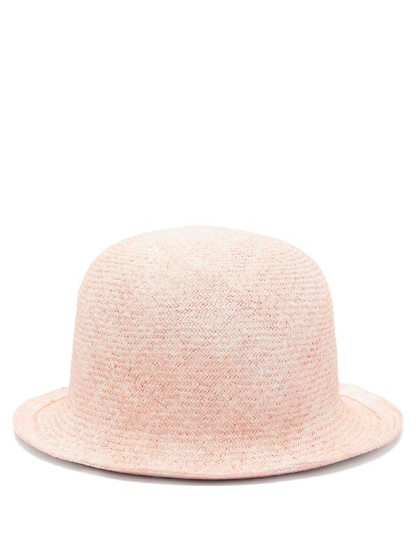 Reinhard Plank Hats Bombetta Cotton-straw Bowler Hat In Pink Multi