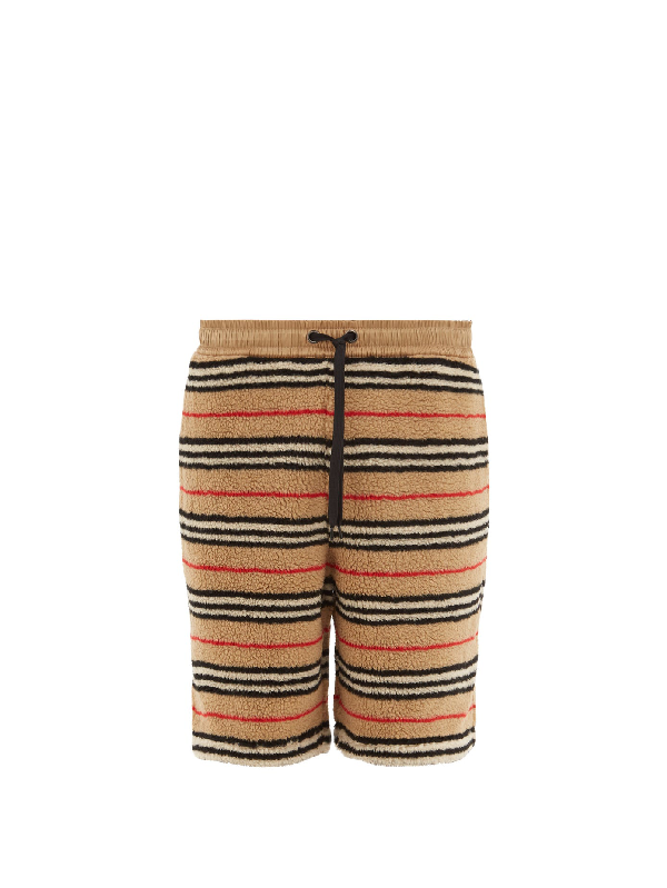 Burberry Shell-trimmed Striped Fleece Drawstring Shorts In Archive Beige
