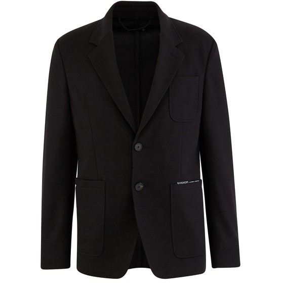 Givenchy Black Logo-print Tech-jersey Blazer In 001 Black