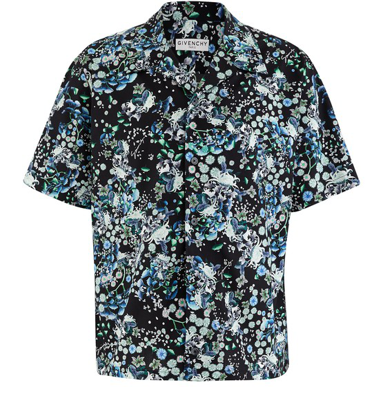 Givenchy Hawaii Floral Short Sleeve Button-up Camp Shirt In Black/blue