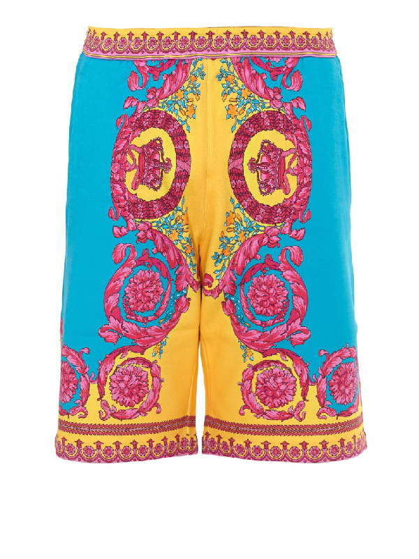 Versace Neon Baroque Print Shorts In Blue