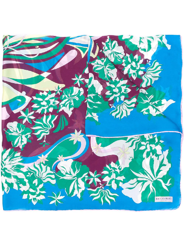 Emilio Pucci Floral-inspired Print Scarf In Blue