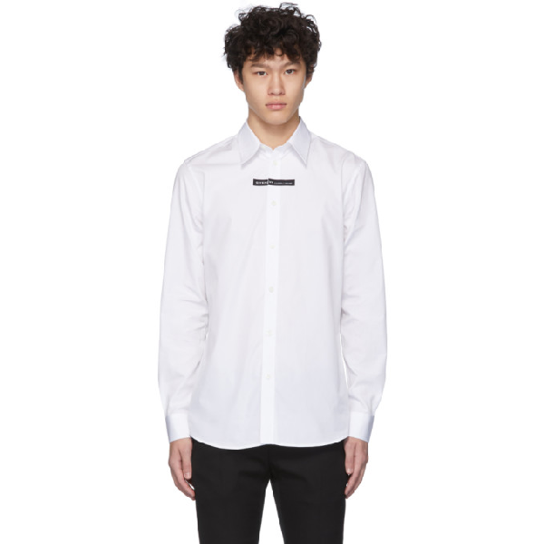 Givenchy Bound Tape Logo Long Sleeve Popeline Shirt In 100 White