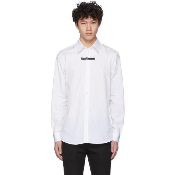 Givenchy Cotton Poplin Shirt W/logo Detail In 100 White