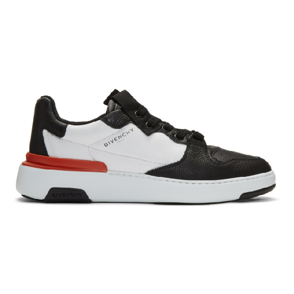 Givenchy Low-top Sneakers Wing Low Calfskin Logo Black White Red In 004 Blk/wht