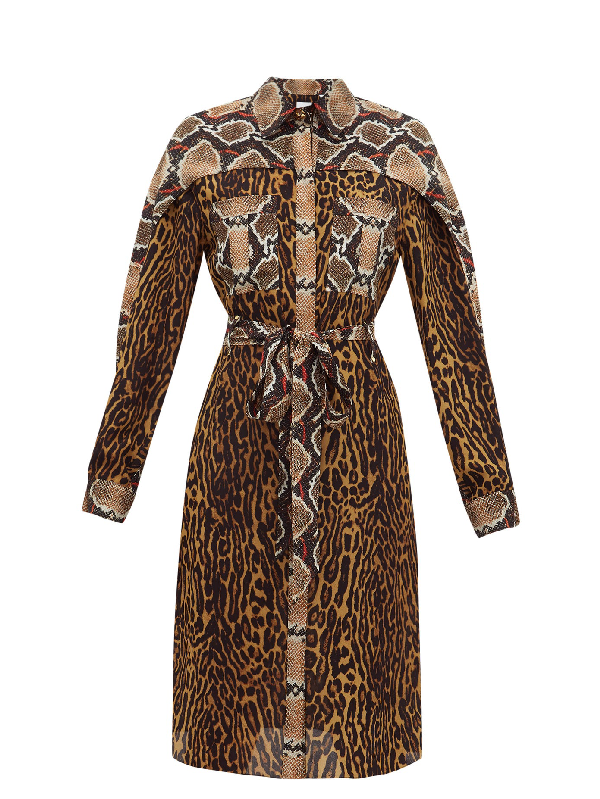 Burberry Costanza Cape Sleeve Leopard & Snake Print Silk Shirtdress In Brown