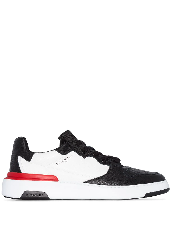 Givenchy Wing Grosgrain-trimmed Full-grain Leather Sneakers In 黑色