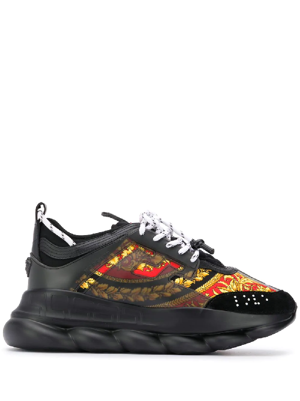 Versace Chain Reaction Panelled Shell, Rubber And Suede Sneakers In 黑色