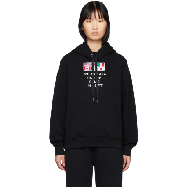 Burberry Flag Applique And Print Cotton Oversized Hoodie In Black