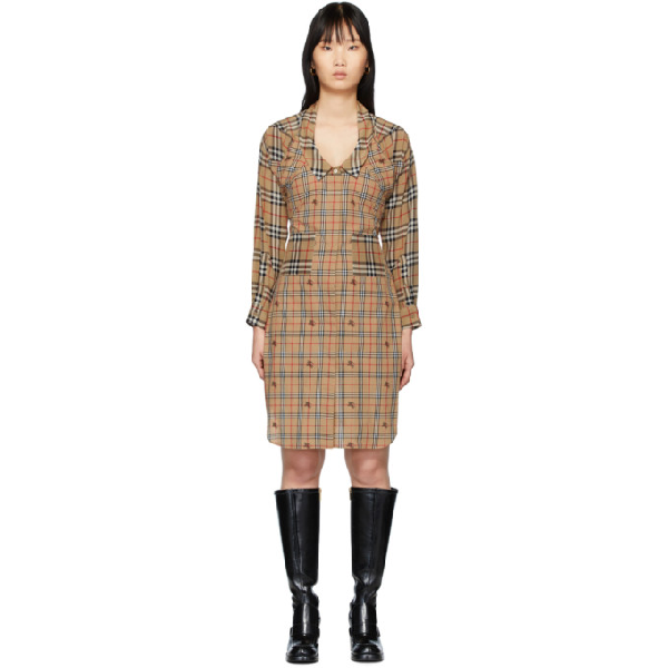 Burberry Vintage Check Silk And Cotton Shirt Dress In Brown