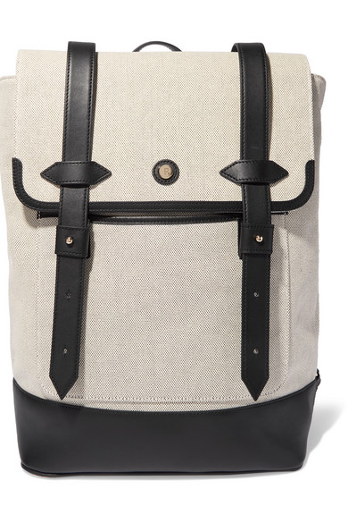 Paravel Upland Leather-trimmed Canvas Backpack In Black