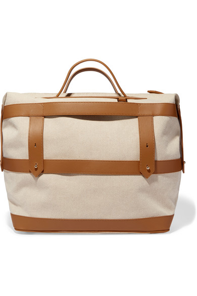 Paravel Weekender Leather-trimmed Cotton-canvas Weekend Bag In Tan