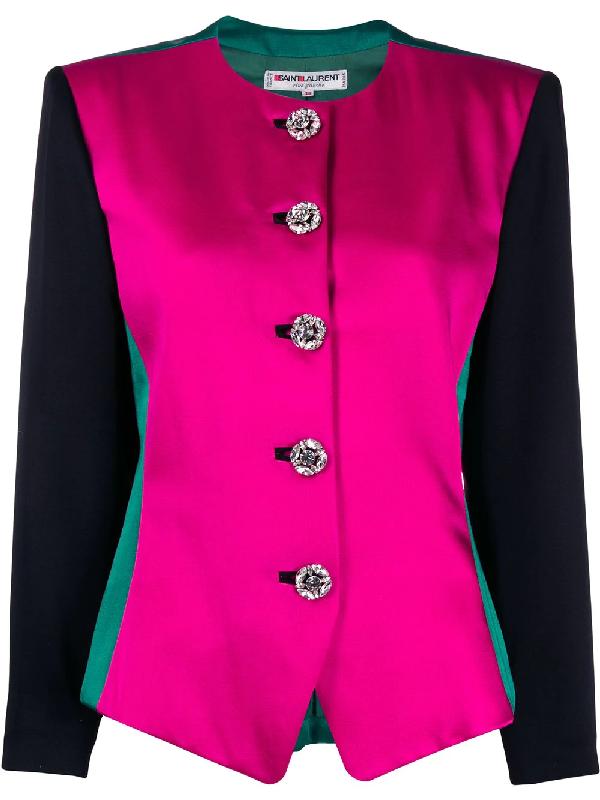 Saint Laurent 1980s Round Neck Jacket In Pink