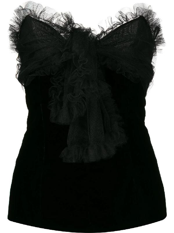 Saint Laurent 1970s Ruffle Trim Top In Black