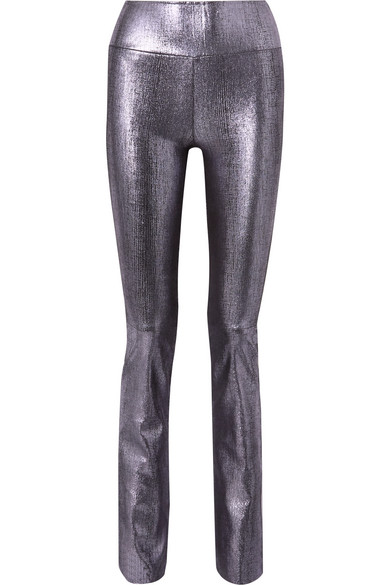 Sprwmn Metallic Leather Flared Pants In Silver