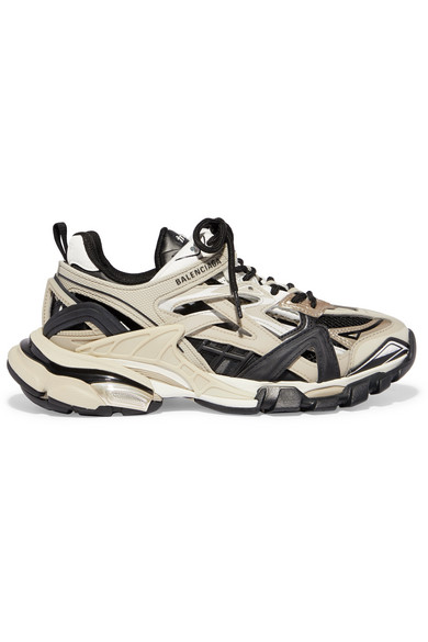 Balenciaga Track 2 Logo-detailed Metallic Mesh And Rubber Sneakers In Beige