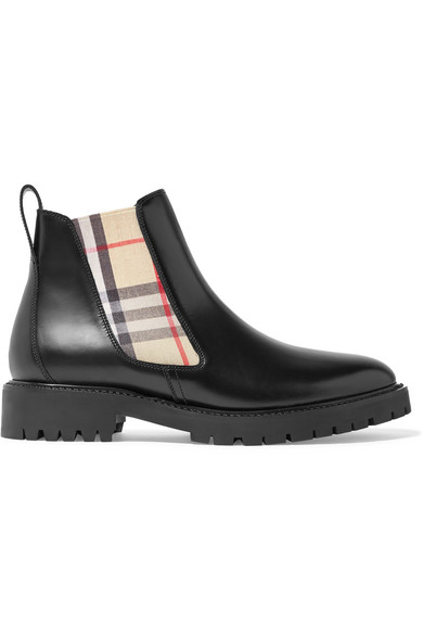 Burberry Vintage Check Detail Leather Chelsea Boots In Black
