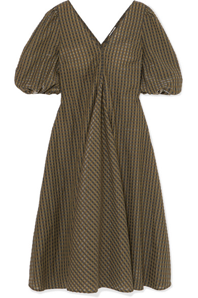 Ganni Metallic Checked Seersucker Midi Dress In Army Green