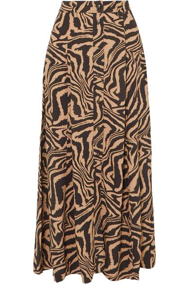 Ganni Print Front Button Midi Skirt In Sand