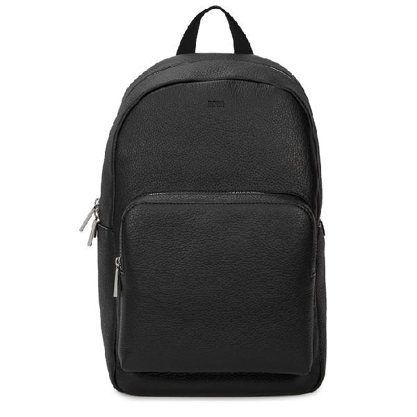 Hugo Boss Crosstown Full-grain Leather Backpack In Black