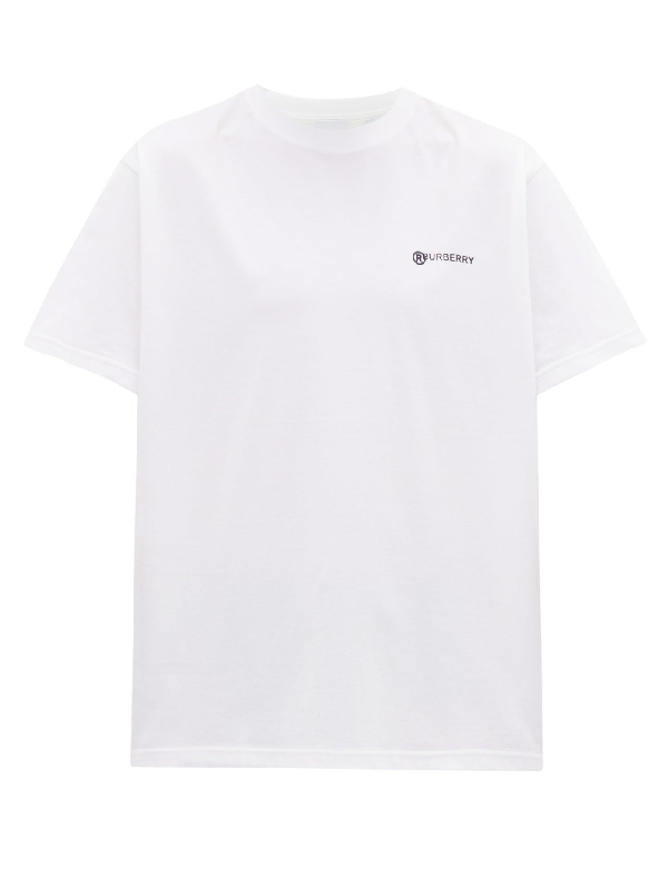 Burberry Location Print Cotton Pique Oversized Polo Shirt In White