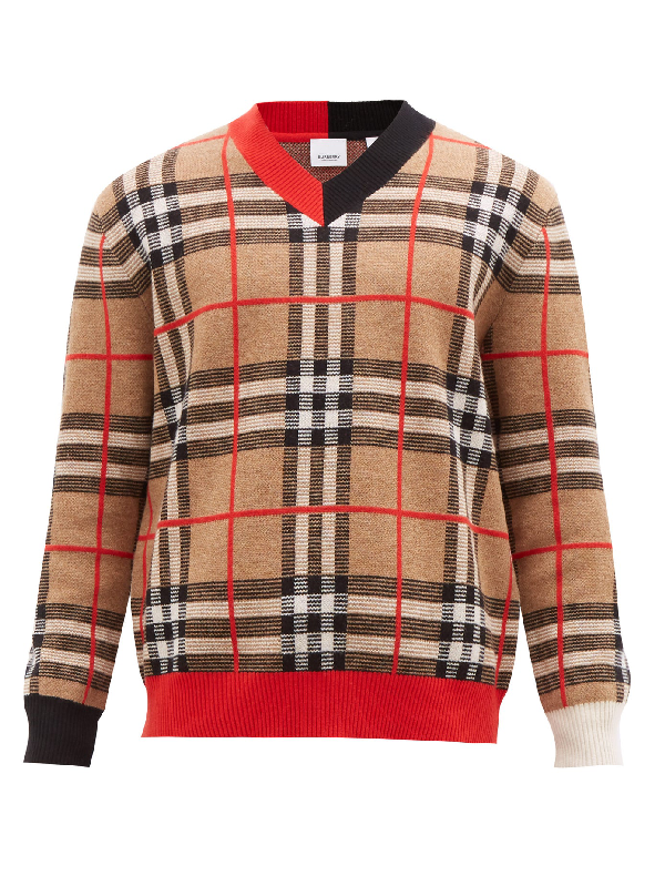 Burberry Duggan Check-jacquard Merino-wool Sweater In Archive Beige