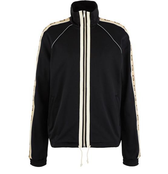 Gucci Logo-jacquard Webbing-trimmed Tech-jersey Track Jacket In Black