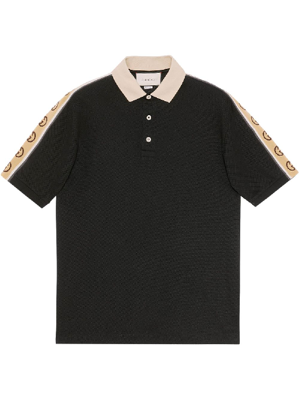 Gucci Logo-tape Cotton-blend PiquÉ Polo Shirt In Black