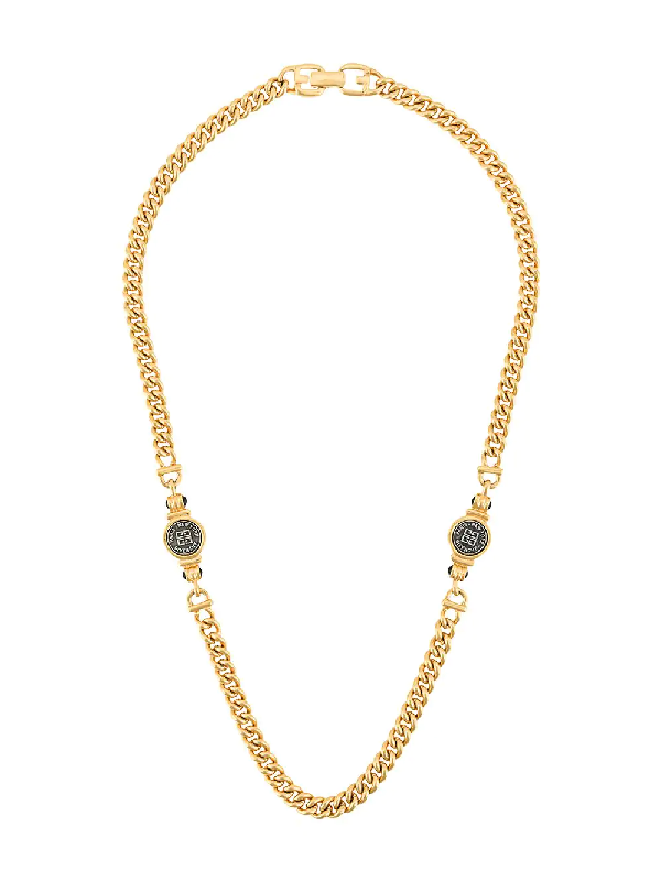 Givenchy 1980s Logo Chain Necklace In Gold