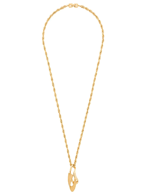 Givenchy 1980s Pointy Pendant Long Necklace In Gold