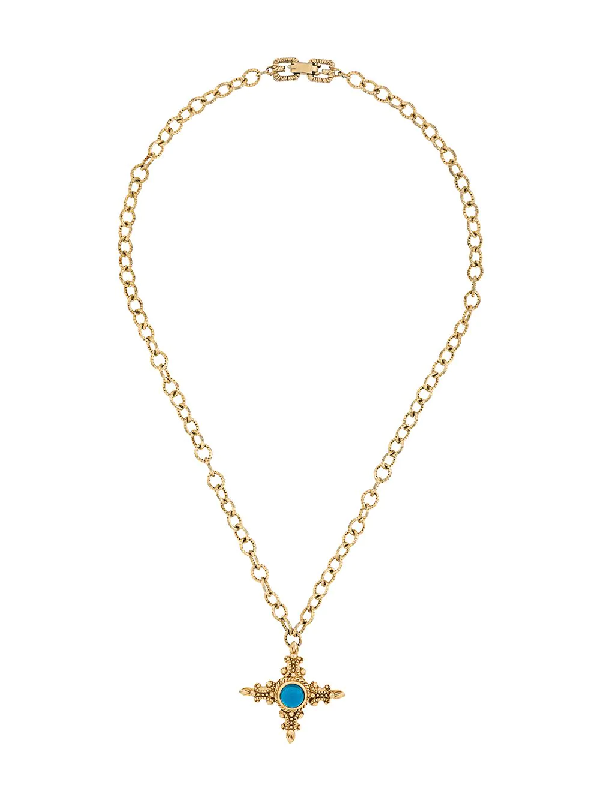 Givenchy 1980s Cross Pendant Necklace In Gold