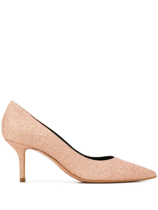 Pollini Glitter-covered Mid-high Pumps In Pink