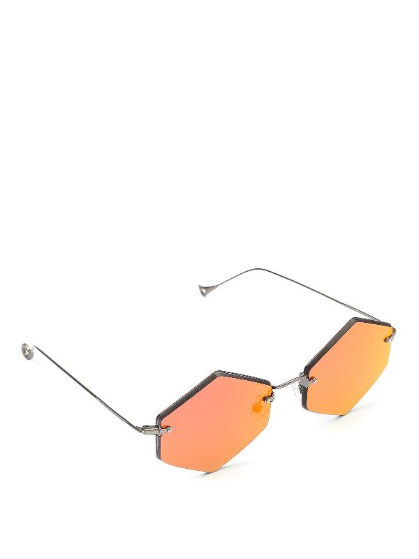 Eyepetizer Kate Red Mirror Lens Sunglasses In Metallic