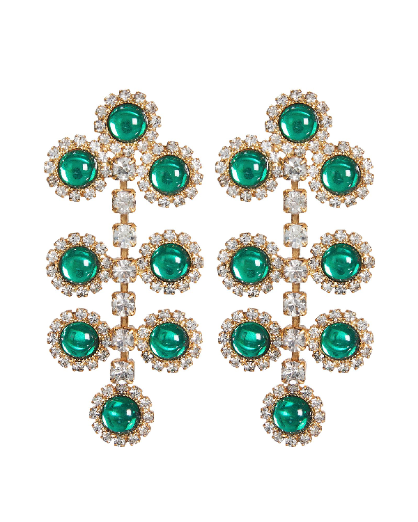 Elizabeth Cole Etta Filigree Drop Earrings In Green