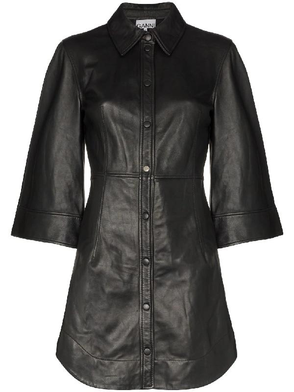 Ganni Flared-sleeve Leather Mini Dress In Black
