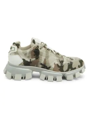 Prada Cloudbust Thunder Camou Knit And Rubber Sneakers In Military