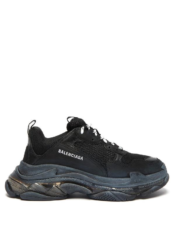 Balenciaga Men's Triple S Tonal Mesh & Leather Sneakers In 1000Noir