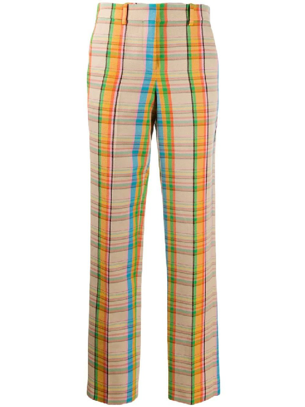Loewe Multicolored Check Print Pants In Neutrals