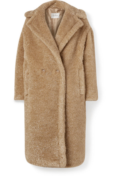 Max Mara Park Metallic Faux Fur Teddy Bear Coat In Beige