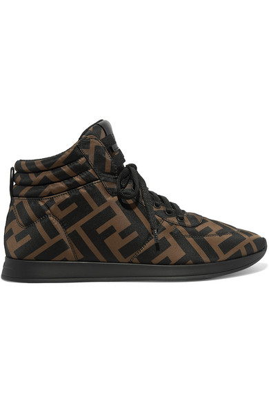 Fendi Leather-trimmed Logo-print Neoprene High-top Sneakers In F0r7v Brown