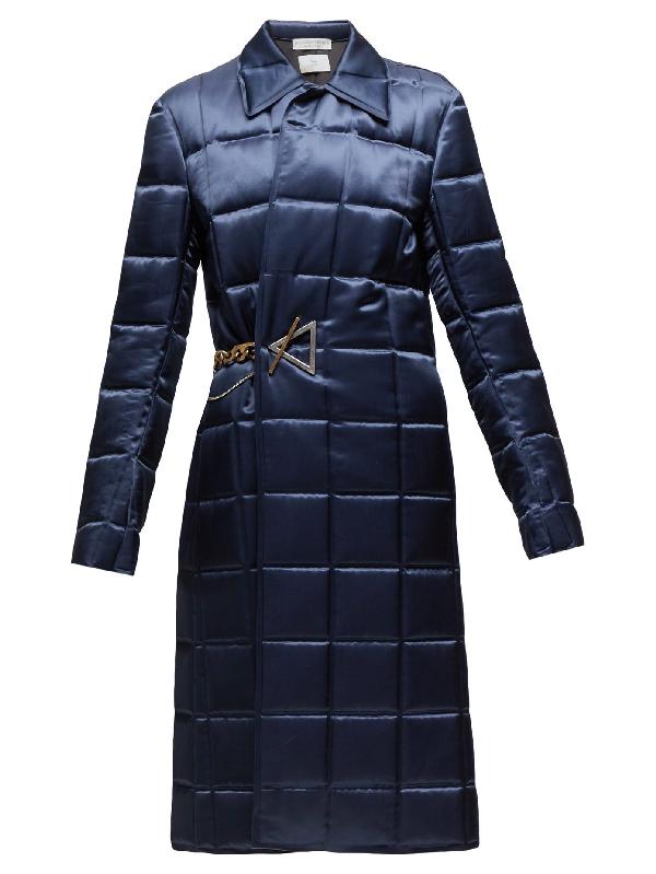 Bottega Veneta Chain-embellished Quilted-satin Coat In Blue Petrol