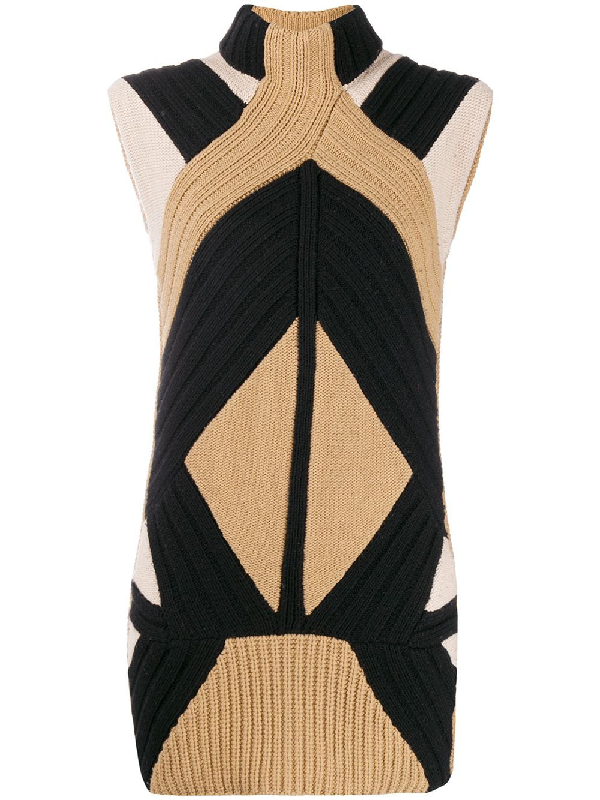 Givenchy Knitted Stand-up Collar Elongated Top In Neutrals