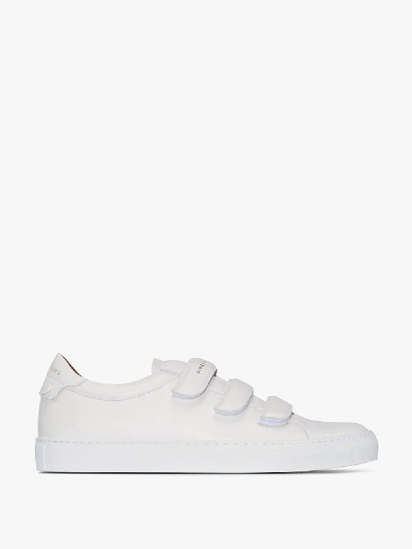 Givenchy White Urban Street Velcro Strap Leather Sneakers In 100 White