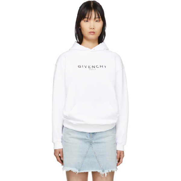 Givenchy Destroyed Logo纯棉连帽卫衣 In 100 White