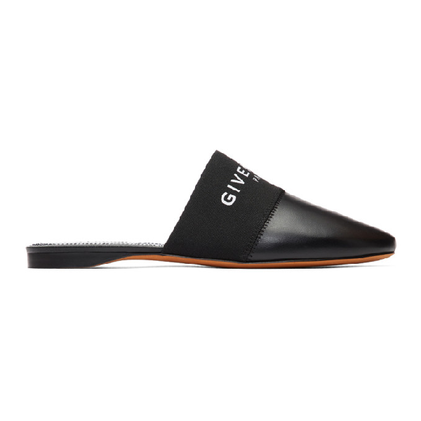 Givenchy Bedford Logo-print Leather Backless Mules In 001 Black