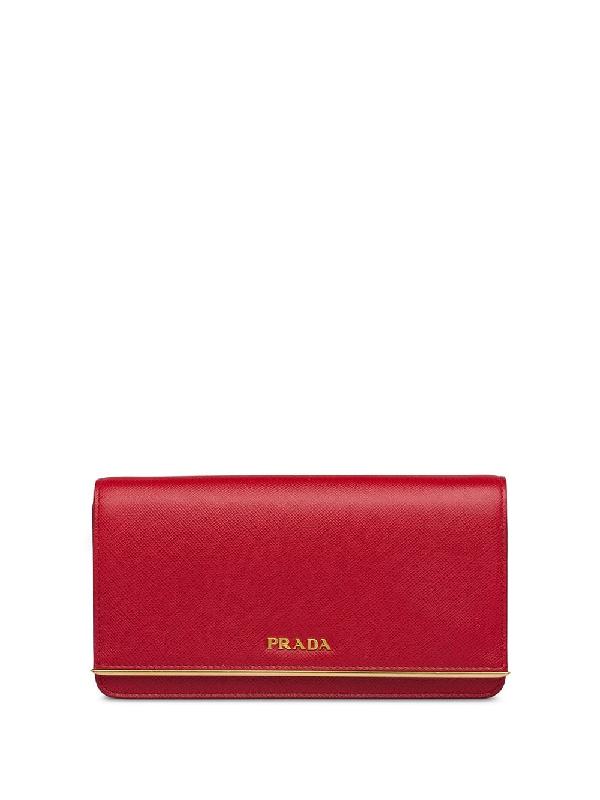 Prada Mini Logo Plaque Crossbody Bag In Red