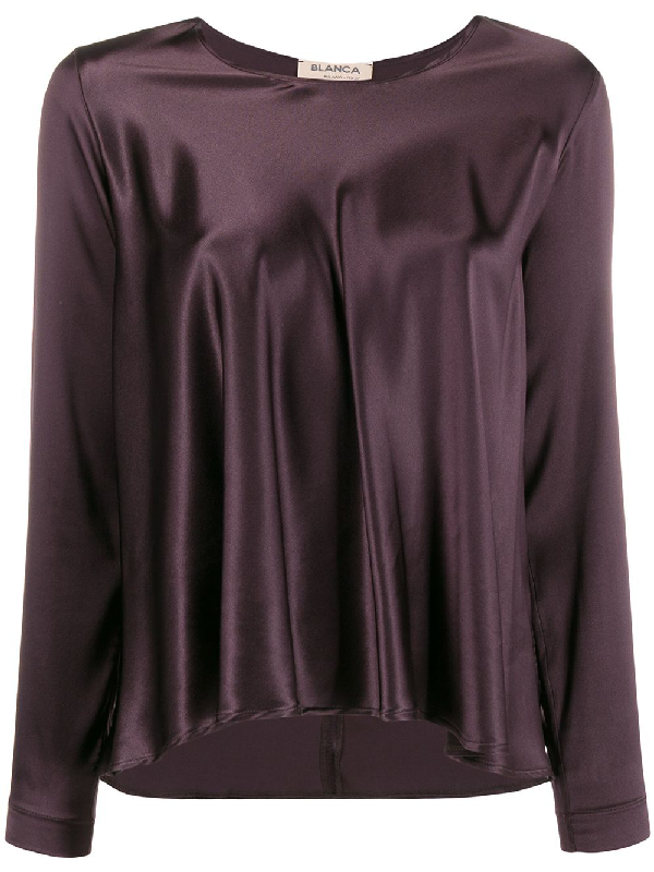 Blanca Flared Satin Top In Purple