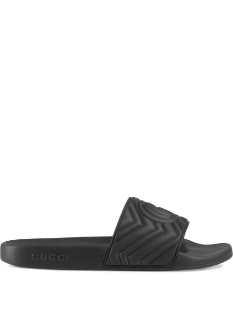 Gucci Pursuit Logo-embossed Rubber Sliders In Black