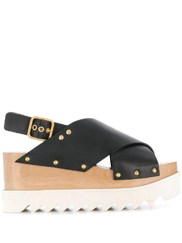 Stella Mccartney Percy Plastic Stacked Sandals In Black